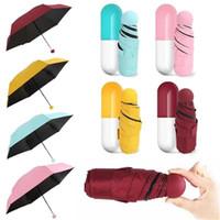 Yaratıcı Sevimli Kapsül Kılıf, 5 Katlama Kompakt Cep Şemsiye Şemsiye ile Ultra Hafif ve Küçük Karşıtı UV Mini Katlanabilir Seyahat Şemsiye