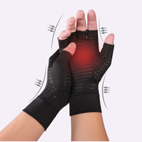 Copper Fiber Compression Gloves Ideal für Arthritis Pain Ease Muskelverspannungen entlasten Handschuh Männer Frauen Half Finger Trainingshandschuhe