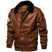 Erkekler Kış Sıcak Kalın PU Ceket Bombacı Deri Ceket Kadife Erkek Sahte Motosiklet Ceketler Erkek Retro Kürk Palto Boyutu: S-2XL