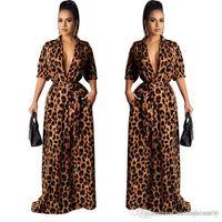 Estilo de la moda maxi vestidos de otoño cuello en V manga mitad atractivo Ropa Mujer Desinger leopardo ropa informal para mujer