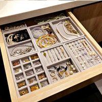 새로운 서랍 DIY 쥬얼리 스토리지 트레이 링 팔찌 선물 상자 보석 주최자 귀걸이 홀더 대부분의 룸 공간 S / M 크기 옵션