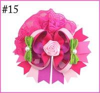 il trasporto libero 30pcs 6''over i capelli in alto ragazza archi grande merletto OTT fermagli per capelli con strass rosa centro accessori per capelli