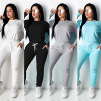 Women' s 2 Piece Tracksuit Set Long Sleeve Solid Color S...