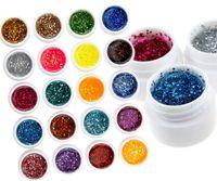 12 Mix Farbe Fest Reines Glitter Gel Acryl Set UV-Erbauer-Nagel-Kunst-Dekor-Kit