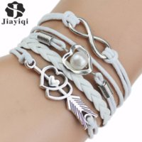 Jiayiqi Multi- Strands Infinity Silver Color Heart Charm Leat...