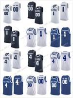 맞춤형 Villanova Wildcats 흰색 모든 이름 번호 해군 파란색 # 10 Donte Divincenzo Stitched NCAA 대학 농구 유니폼 S-3XL
