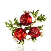 트렌디 한 에나멜 과일 모양 여성을위한 빨간 석류 브로치 녹색 잎 브로치 정장 옷깃 핀 의류 스카프 배지