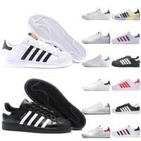 Adidas OFF WHITE Superstars Triplo Preto Branco Prata Vermelho Sapatos Casuais Venda Quente Stan Smith Sapatilhas Plataforma de Couro Ocasional Tamanho 36-44