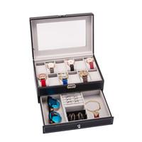 الولايات المتحدة أسهم 12 فتحات صندوق وتش ووتش رجالي منظم قابل لل مجوهرات العرض حالة مع ريال زجاج الأعلى فو الجلد الأسود