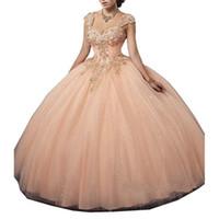 Cristaux de pêche luxueux robe de bal quinceanera robes de quinceanera 2019 Bretelles chérie Tulle Vestidos de 15 Anos Sweet Sweet 16 Robe 16