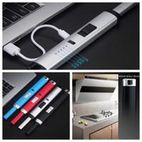USB 전자 주방 라이터 (10 개) 색상 전기 충전식 방풍 금속 롱 아크 라이터 라이터 120pcs OOA6312-1