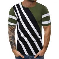 Ras du cou à manches courtes T-shirts Vintage Tops hommes occasionnels Casual Designer Ligne Pure Color Pallened Mens Shirts Designer