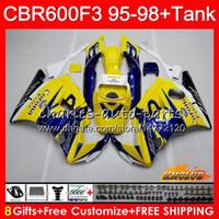 Кузов + бак для HONDA CBR Желтого продажа 600F3 600cc CBR600 F3 95 96 97 98 41HC.9 CBR 600 FS F3 CBR600FS CBR600F3 1995 1996 1997 1998 обтекатель