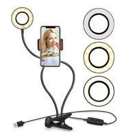 Selfie Luz del anillo con soporte para teléfono móvil flexible Lazy soporte de escritorio lámpara de luz LED para OOA8116 favor de partido Live Stream