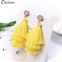 New Trendy 3 Layered Colorful Tassel Earrings Handmade Bohem...