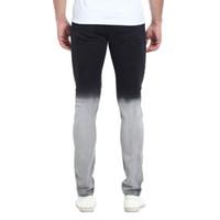 Fashion-Gradatient цвета джинсы мужские Стильный дизайнер черный белый цвет Лоскутная Омывается карандаш брюки джинсы