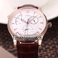 Новый Master Control Master Geographic Q1428421 Автоматические мужские часы Роза Золотой набор DayDate Brown Кожаный ремешок Спортивные часы TimeZoneWatch