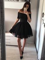 Little Black Homecoming Jurken Classic Off Schouders Korte Mouw Prom Dress Mini Party Jurken Plus Size Cocktailjurken Z77