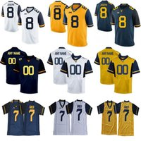 주문 웨스트 버지니아 등산객 제한 화이트 해군 파란색 노란색 맞춤 스티치 모든 이름 번호 7 Grier College Football Jersey S-6XL