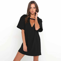 Abiti casual 2021 Donne Tshirt Mini Dress Dress Choker V-Neck Summer Long Manica Corta Sexy Halter Boho Beach Vestidos Autunno