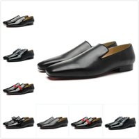 New 2019 men black sheepskin leather red bottom oxfords bran...