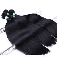 Дамы шелковистые прямые веревки 12 размеров оптом черные волосы необработанные расширения Weave Wefts Bulk устойчивые головы африканские синтетические волосы утомительные материалы