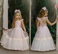 Angel 2020 Flower Girls Vestidos Para O Casamento Renda Rosa Clara crianças formais vestem fundo Vestido De Mulher