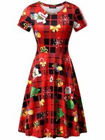 FENSACE Christmas Dress Womens Santa Claus Printed Gifts Xma...