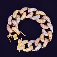 Baguette pulsera circón Mixta 22mm color Cadena Cubana nueva joyería de Hip Hop de hielo fuera de los hombres de la roca pulsera de la calle