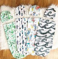腹部の眠りの帽子を持つ寝袋の寝袋をセットする動物の花のムスリンのラップ帽子幼児スワッドリン袋子供ギフトE22602