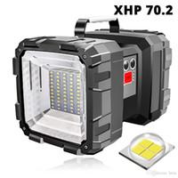 Rifurto a LED ricaricabile Doppia testa LED Spotlight a flashlight con XHP 70.2 Lampada Lampada Lampada da campeggio impermeabile