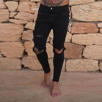 Jean Men Moda magro denim stretch lápis calças dos homens Ripped Buracos Slim Fit Motorcycle Denim Jeans Zipper Streetwear Calças