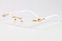 2020 Вуд Солнцезащитные очки для мужчин Белый деревянные Буффало Хорн очки Женщины моды Спортивные очки Bamboo Rimless Солнцезащитные очки поставляются с коробки