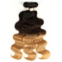 Ombre Indien humide et Cheveux ondulés vague de corps 1B / 4/27 (30) Corps indien vague cheveux Weave 3/4 Bundles Ombre Hair Extensions