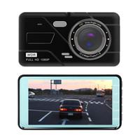 FHD Araba Dash Kamera Sürüş Video Kamera 1080 P Araba DVR 4 Inç 2ch Ön 170 ° Geniş Görünüm Açı G-Sensör Hareket Algılama Park Monitör
