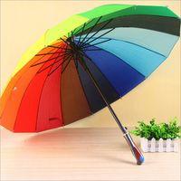 الأزياء الملونة قوس قزح مظلة المطر النساء ماركة 24 كيلو windproof طويل مقبض مظلات إطار قوي للماء DBC VT0466