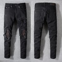 61c0afb09160 New Arrival. New Italy Style  573  Men s Distressed Hollow Out Pants Art  Ribs Patches Skinny Black Jeans Slim Trousers Size ...