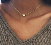 NUEVO Color de plata Corazón Colgante Collar para Las Mujeres Corto Cadena Corazón Collana Kolye Collar Gargantilla Collar de Cadena Collar Amor Joyería