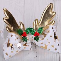 조조 활 Siwa 활 크리스마스 유니콘 활 소녀 Christams 헤어웨어 반짝이 Reindear 귀 머리 리본 8 인치 큰 크기 Barrettes 여자 Brithday 선물
