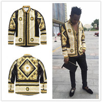 3D Gilding carved lines Men's Casual Shirts High grade of creative design summer long sleeve shirts