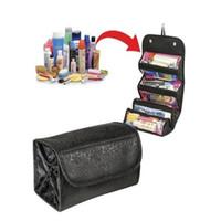 ROLL-N-GO متعددة الوظائف حقيبة مستحضرات التجميل أزياء المرأة متعدد جيب حقيبة ماكياج سهل نشمر جيد استخدام للماكياج مستحضرات التجميل منظم LXL807-1