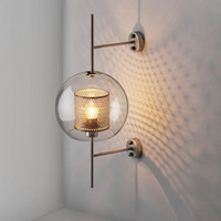 Industrial style living room wall lamp 20cm 25cm clear glass...