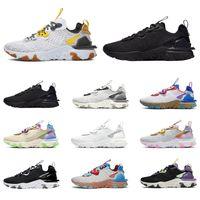 Nike React Element Vision 55 87 Hohe Qualität Reaktionselement Vision 55 87 Laufschuhe Männer Frauen Triple Black White Iridcent Honeycomb Herren Trainer Sport Turnschuhe