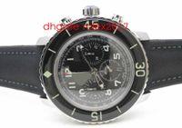 2020 Mens Edición Limitada Cincuenta Fathoms Flyback Cronograph Black Asia 7750 VALJOUX Movimiento automático Black Dial Men's Sport Relojes
