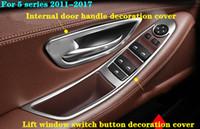 commutateur de fenêtre de voiture bouton couvercle de protection de panneau décoratif, couvercle de décoration de poignée de porte intérieure pour BMW 5series 520 525 530Li 2011-2019