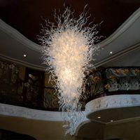 Lámparas de araña de cristal clásico Iluminación 100% Mano Vidrio de cristal Luces de araña blanca LED de luz LED Lámpara colgante del restaurante