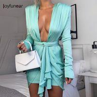 Joyfunear Mini Mavi Zarif Elbise Kadın Wrap Parti Kulübü Elbiseler Bandaj Derin V Boyun Fermuar Seksi Sonbahar Bodycon Elbise Feeme 2019