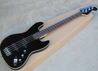 Черный 4-струнный электрический джазовый бас с палисандровым грифом с белым переплетом, хромированная фурнитура, может быть настроена по запросу