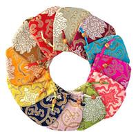 10х10см мешок ювелирных изделий, мешок подарка смешанные благоприятные облака модель ювелирных мешочки, смешанный цвет китайские традиционные атласные сумки