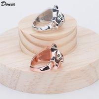 Dona Jewelry Hot Ring Fashion Pop Inlaid Zircon Leopard Head Anello Europa e Stati Uniti Anello per uomo e donna creativi